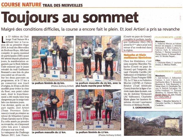 Trail des Merveilles 2018 (Breil-sur-Roya) - Podiums pour Charly, Isabelle, Clary et Jany
