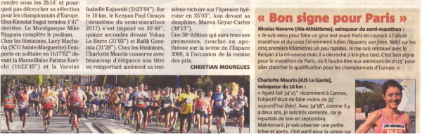 Semi-marathon de Hyères 2018 - Top 10 pour Ancelot Lecanu (9ème)
