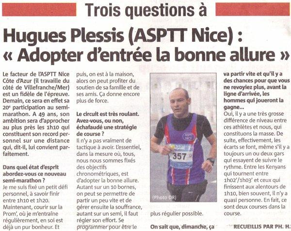 Semi-marathon de Nice 2018 - Interview de Hugues Plessis dans nice-matin