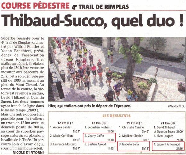 Trail de Rimplas 2018 (06) - Charly 2ème (12 km), Laurent Antoniucci 4ème (21 km)  Isabelle Belia 4ème femme (21 km)