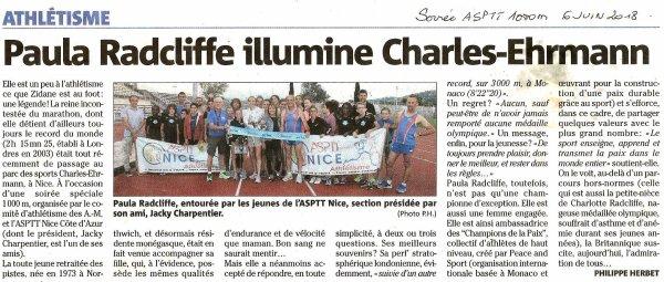 nice-matin et la soirée 1000 m ASPTT Nice Côte d'Azur avec Paula Radcliffe