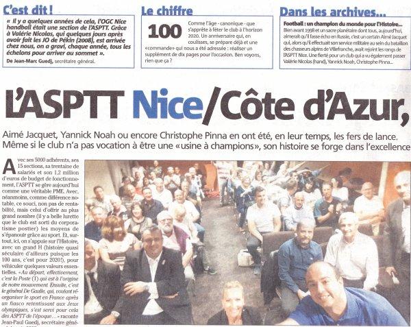 ASPTT Nice Côte d'Azur - L'article de nice-matin du 30 juin 2018