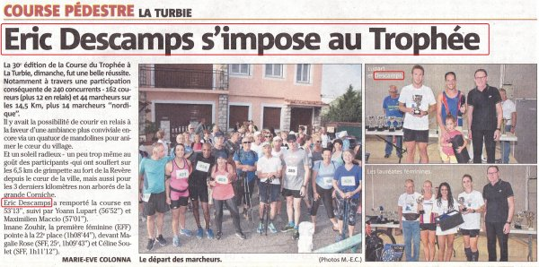 Course du Trophée 2018 (La Turbie, Alpes Maritimes) - Victoire d'Eric Descamps