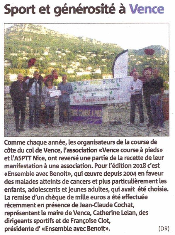 """L'Ascension du Col de Vence 2018 et la Foulée des Baous 2019 soutiennent l'association """"Ensemble avec Benoit"""" dans sa lutte contre les leucémies"""