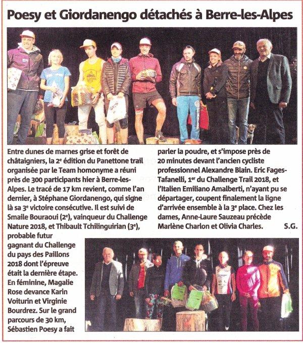 Panettone Trail de Berre-les-Alpes (06) - Podium pour Odete Boularès (3ème Master 2)