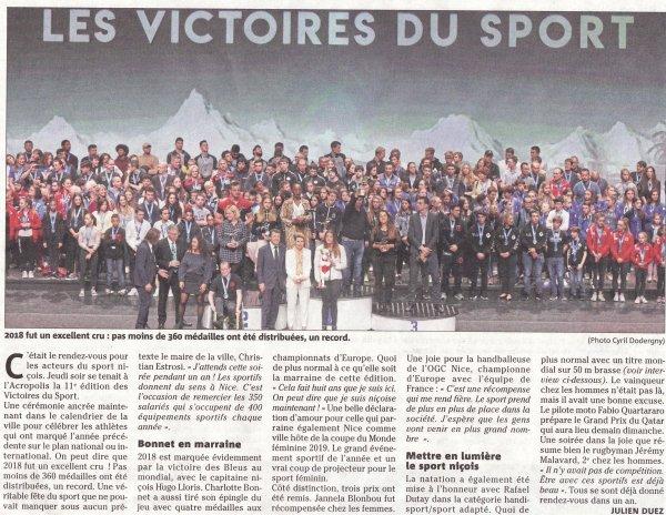 Les Victoires du Sport de la Ville de Nice 2018 avec l'ASPTT Nice Côte d'Azur
