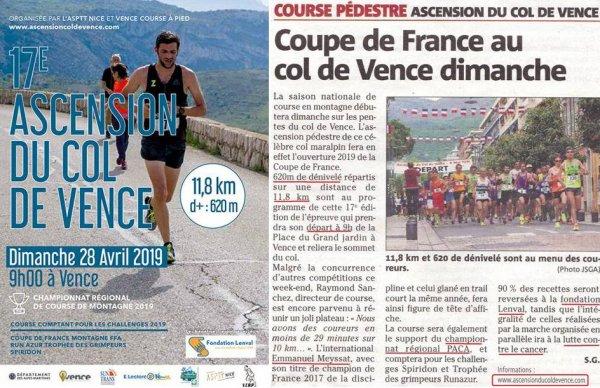 Ascension du Col de Vence 2019 - Départ dimanche 28 avril 9h00 à Vence