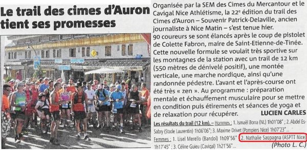 Trail des Cimes d'Auron 2019 - Nathalie Saupagna 2ème féminine