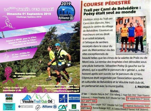 Trail per Cami 2019 (Belvédère, 06) - Isabelle Belia en haut du podium féminin (27 km)... ...La 2ème marche du podium 13 km pour Baptiste Bonhomme