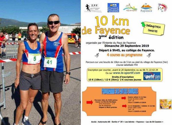 Régionaux de 10 km 2019 (Fayence) - Magali 1ère et Rose-Marie 2ème en Master 2