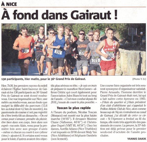 Le Grand Prix de Gairaut 2019 (Nice) - Sylvain 4ème Master 1, Cécile 2ème Master 2 F
