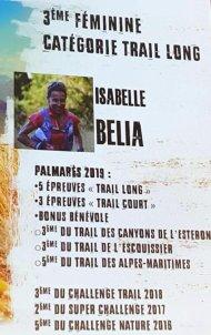 Challenge Trail Nature 06 (2019) - Isabelle Belia 3ème femme en Trail Long