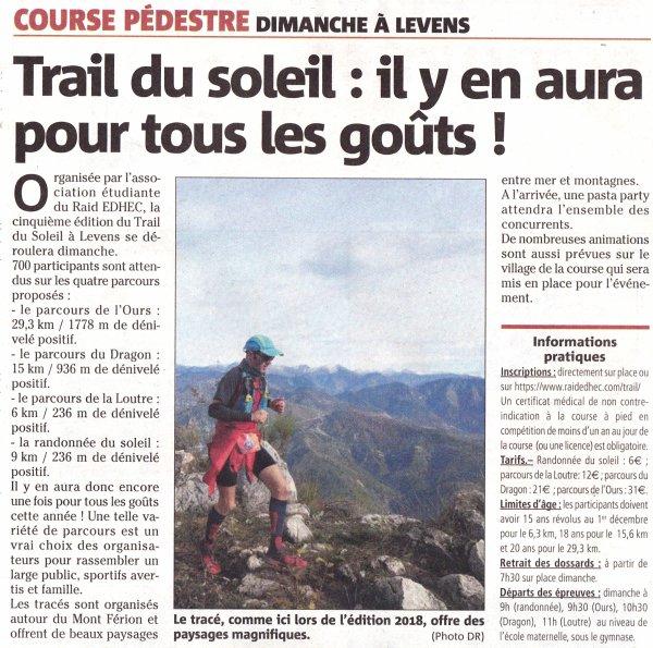 Trail du Soleil 2019 (Levens, 06) - Dimanche 1er décembre