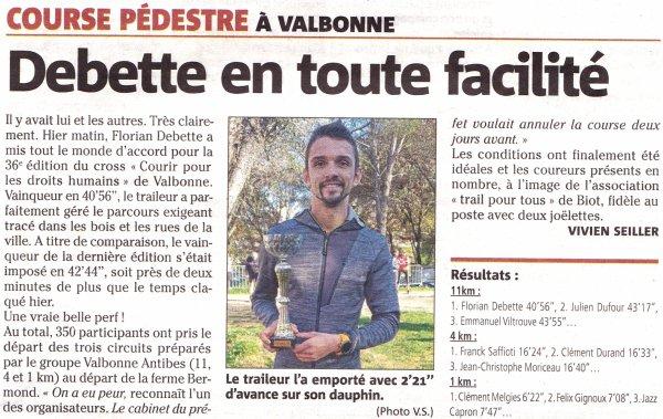 """Courir pour les Droits Humains 2019 (Valbonne, 06) - """"L'ASPTT Nice en 1ère ligne"""""""