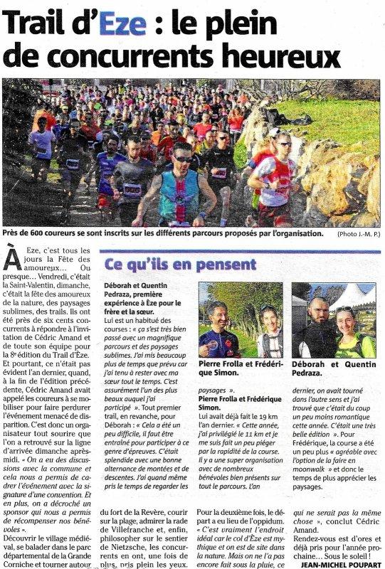 Trail d'Eze 2020 - Baptiste Bonhomme 13ème sur 30 km