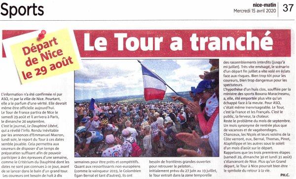 Le Tour de France Cycliste 2020 - Départ de Nice le 29 août