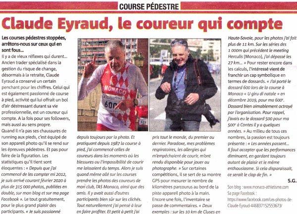 Claude Eyraud et Gilles Appourchaux à l'honneur dans les colonnes de nice-matin