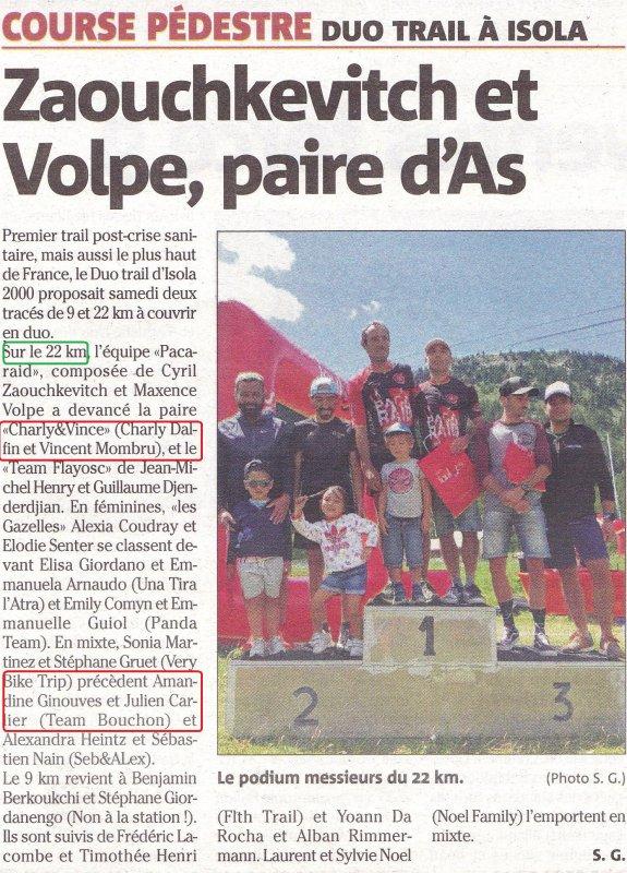 Le DuoTrail 2020 d'Isola 2000 (Alpes-Maritimes) - Charly Dalfin 2ème en Duo, 2ème Duo Mixte pour Amandine Ginouves et Julien Carlier