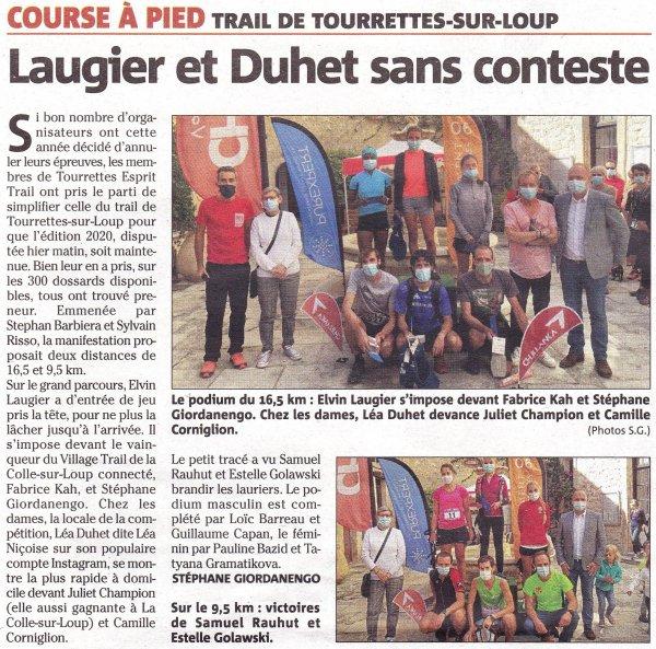 Trail de Tourrettes-sur-Loup 2020 (06) - Romain Maurel 5ème sur 16,5 km