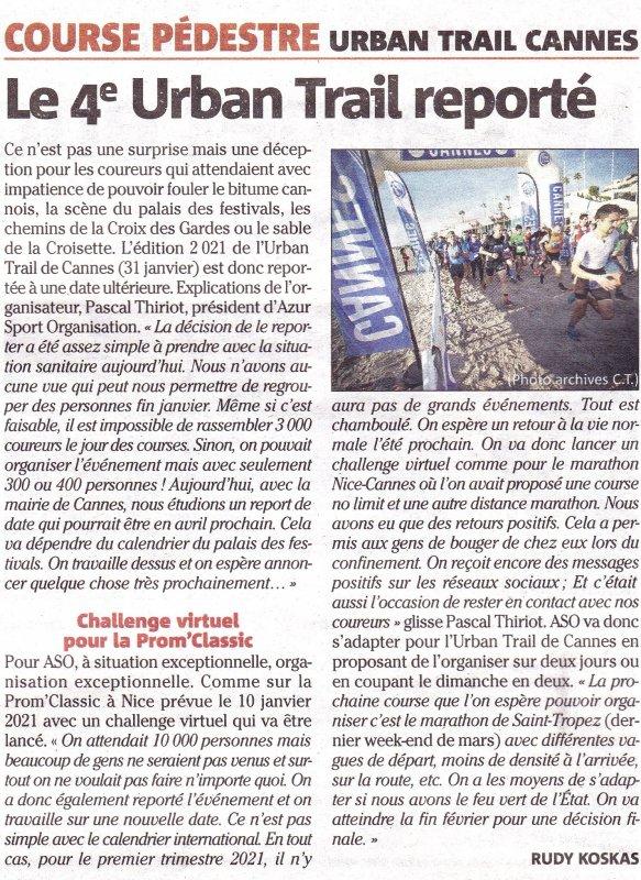 Prom' Classic (Nice) et Urban Trail (Cannes) 2021 reportés à une date ultérieure...