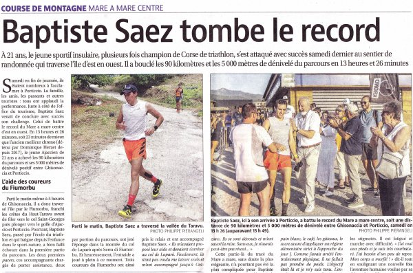 Mare a Mare Centre 2020 (Corse) - Le record pour Baptiste Saez