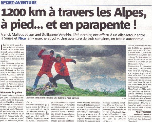 Deux jambes et un parapente pour un aller-retour Suisse-Nice de 1200 km