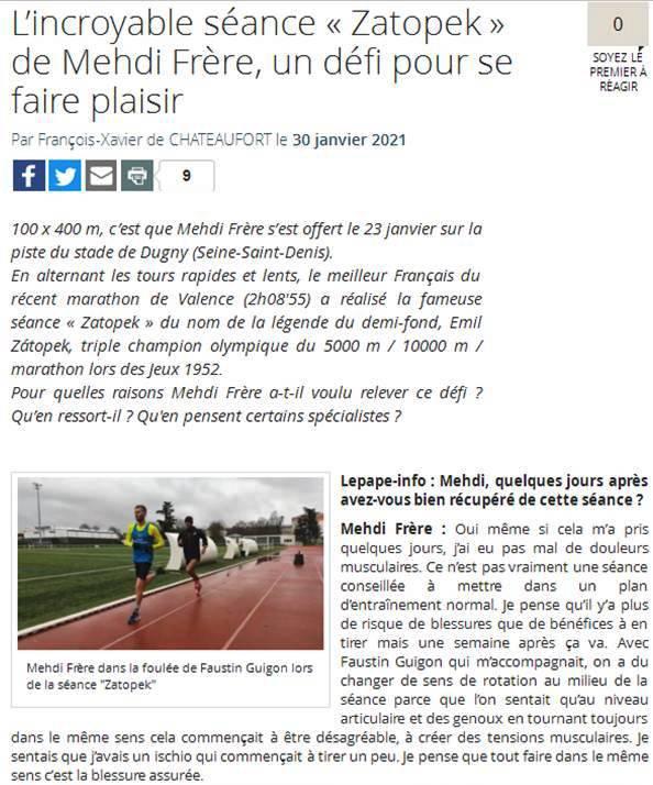 """Séance """"Zatopek"""" pour Mehdi Frère - 100 x 400 m pour le plaisir...!"""