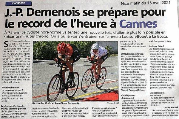A 75 ans, record du monde de l'heure en vue pour Jean-Pierre Demenois