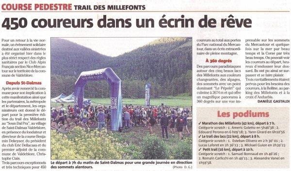 Trails des Millefonts 2021 - Céline Plasseraud 1ére sur 16 km