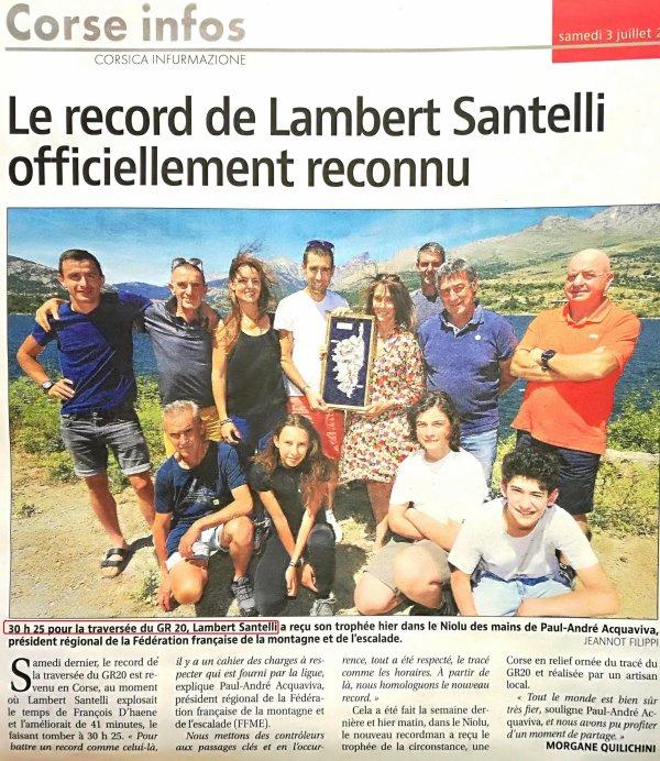 Le record du GR20 revient en Corse - 30h25' pour Lambert Santelli