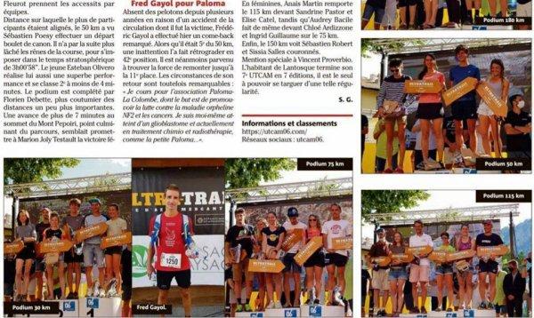 Ultra Trail Côte d'Azur Mercantour 2021 - Fred Gayol en warrior pour une bonne cause