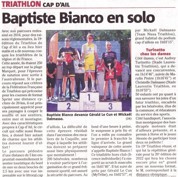 Triathlon de Cap d'Ail 2021 (Alpes-Maritimes) - Romain Maurel 1er S2M