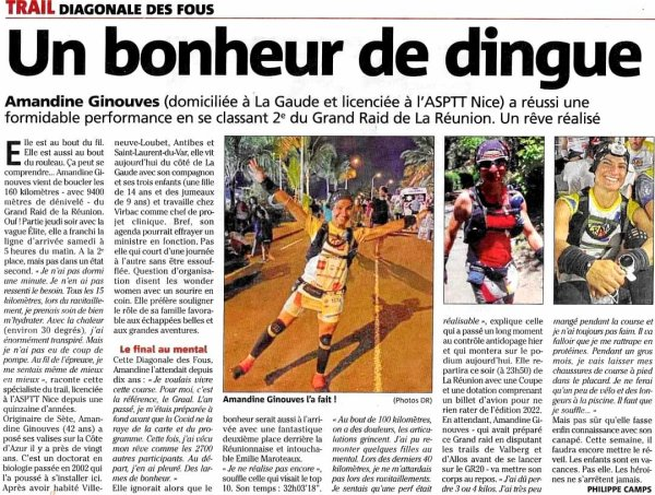 Diagonale des Fous 2021 (La Réunion) - Brillant exploit d'Amandine Ginouves, 2ème !