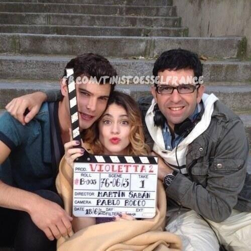 Diego,Tini et quelqu' un du tournage a Madrid