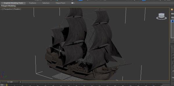 "navire ""Brig Unicorn - black pearl"", zbrush - 3Ds max - Phoenix FD"