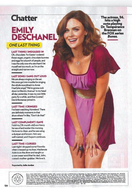 • •  Emily Deschanel - People Magazine Scans (April 22, 2013)   • •