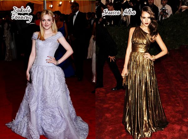 """Le 7 mai dernier se déroulait à New York, l'évènement """"Met Gala 2012"""". Découvre les plus belles... mais aussi les plus moches tenues de nos stars féminines préférées ! Personnellement, la plus jolie robe est celle que porte Nina Dobrev, c'est une robe de chez Donna Karan, je trouve Nina vraiment sublime dedans. La palme de la plus moche tenue à mon gout est celle de Kirsten Dunst, la couleur n'est déjà pas très jolie et en plus de ça la forme non plus."""