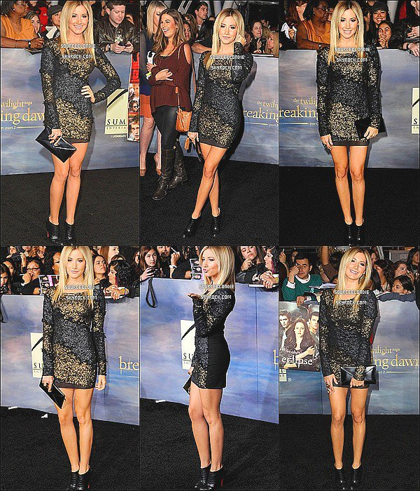 -12/11/12 :  Ashley etait presente a la premiere de Twilight « Twilight Breaking Dawn - Part 2 » a L.A.+ Ashley etait aussi a l'After Party de Twilight « Twilight Breaking Dawn - Part 2 ».Magnifique robe ! -