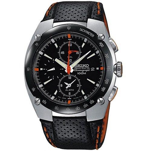 montre homme seiko sportura alarm quartz chronograph sna481p1 bracelet en cuir pas chere. Black Bedroom Furniture Sets. Home Design Ideas