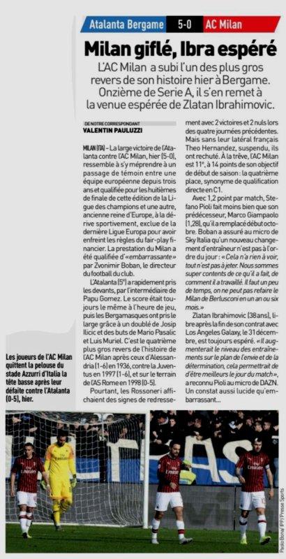 2019 Série A J17 ATALANTA AC MILAN 5-0, le 22/12/2019