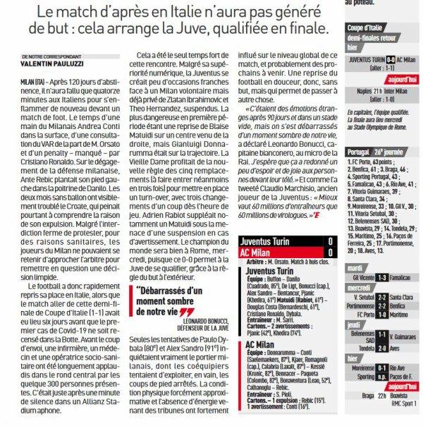 2019 COPA 1/2 Retour AC MILAN JUVENTUS 0-0, le 12/06/2020