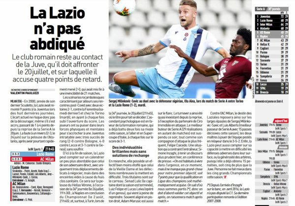 2019 Série A J30 LAZIO AC MILAN 0-3, le 04/07/2020