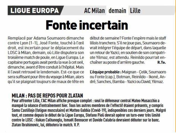2020 Ligue EUROPA Groupe H J03 : AC MILAN LILLE, l'avant match, le 05/11/2020