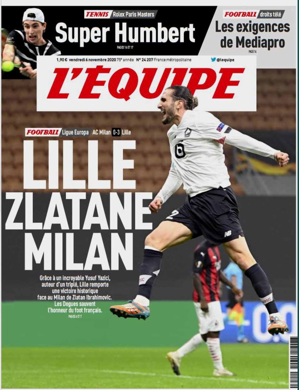 2020 Ligue EUROPA Groupe H J03 : AC MILAN LILLE 0-3, le 05/11/2020