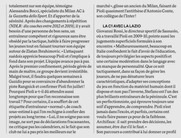 2020 AC MILAN : PIOLI, la FORCE TRANQUILLE le 05/01/2021