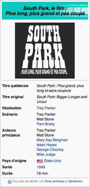 South Park Le film : Plus long, Plus grand et pas coupé
