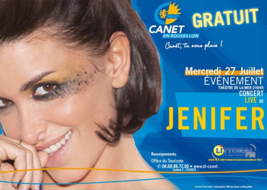 Jenifer en concert le 27 juillet CANET EN ROUSSILLON - Théatre de la mer