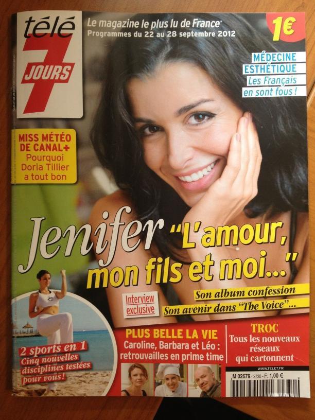 Jenifer, en une de télé 7 jours, le 17 septembre 2012 dans les kiosques !