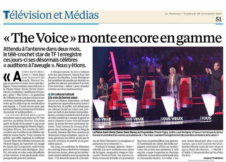 The voice, saison 2, monte en gamme ! Source... Le parisien