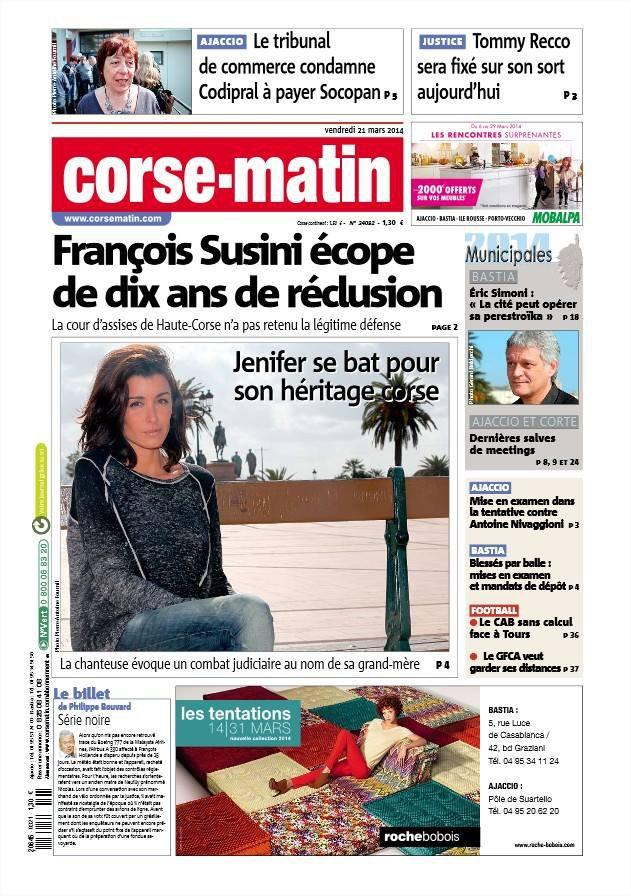 Jenifer » Revue de Presse » Corse Matin [21/03/14]
